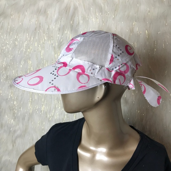 Upf 50 Wide Brim Sun Hat Pink Patterned Detail Nwt  94d4859a09f1